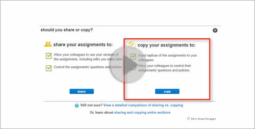 Copying and Sharing Sections in Connect