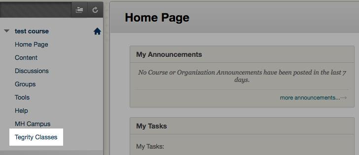 Student home page screenshot
