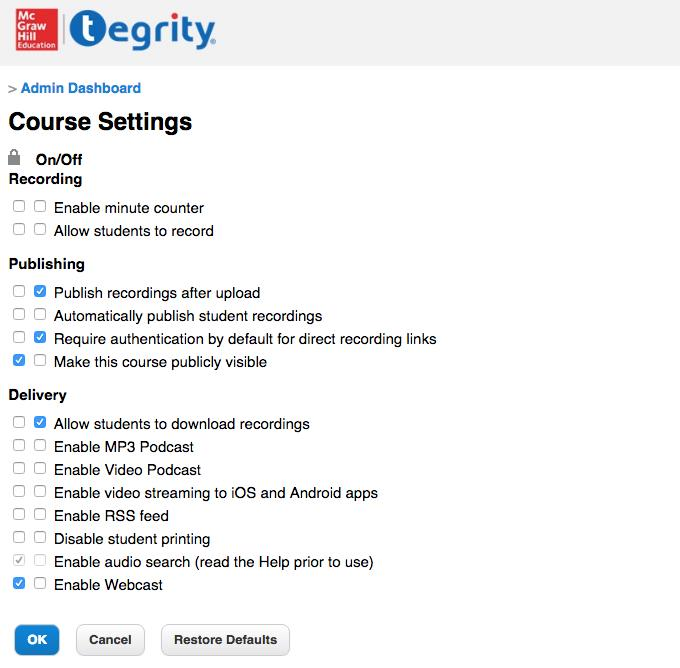 Course Settings screenshot